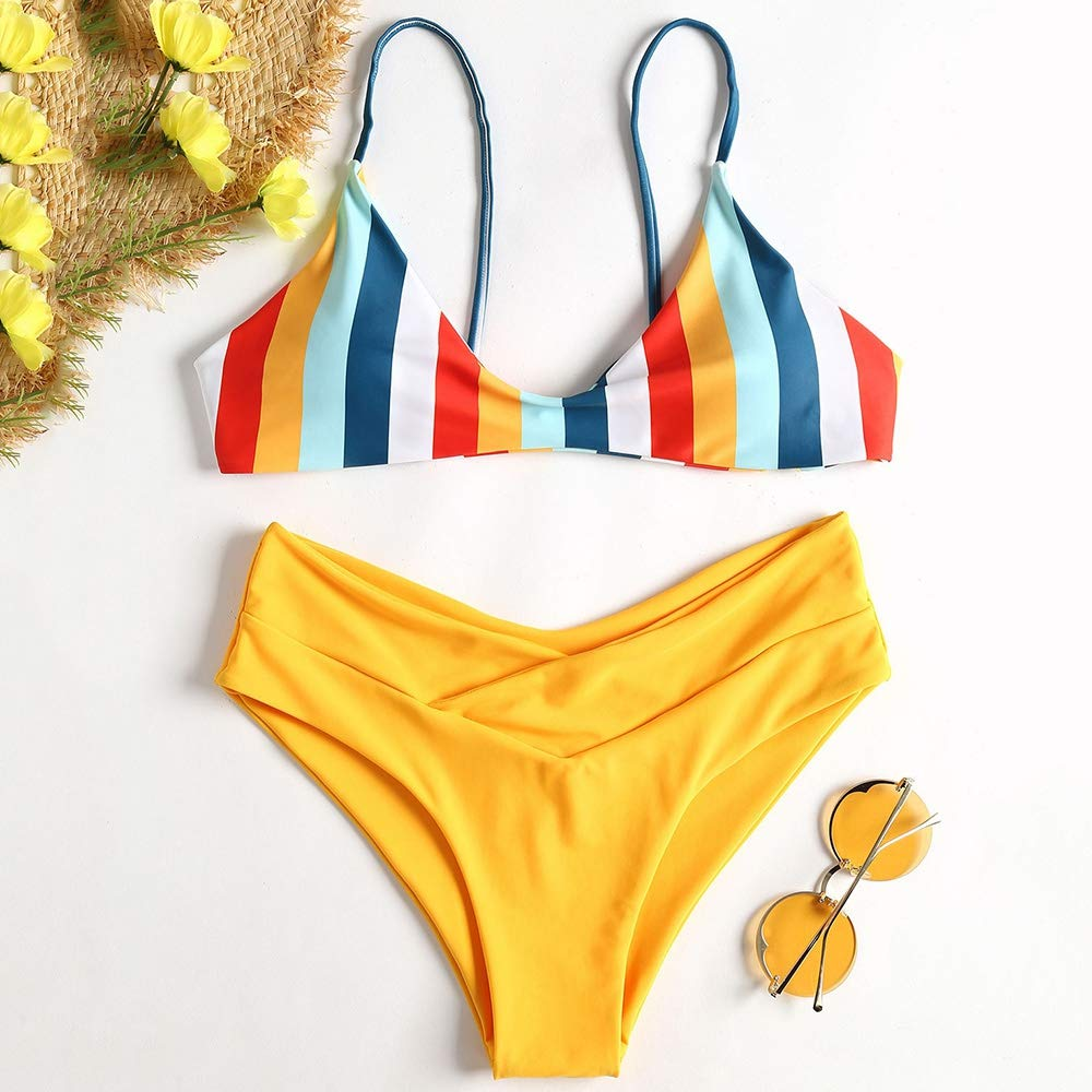 a90a4f4160 Amazon.com: ZAFUL Women's Striped High Leg Cami Bikini Set: Clothing