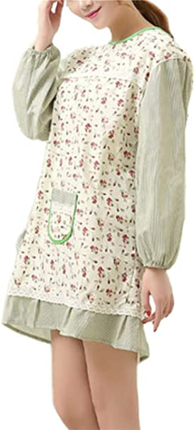 Kitchen Cute Adult Women Men Long Sleeve Apron Smock With Pockets LP