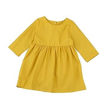 a2f6ffc8012aa (プタス)Putars ベビー服 子供服 女の子 ワンピース ドレス 長袖 イエロー 可愛い オシャレ 通園 発表