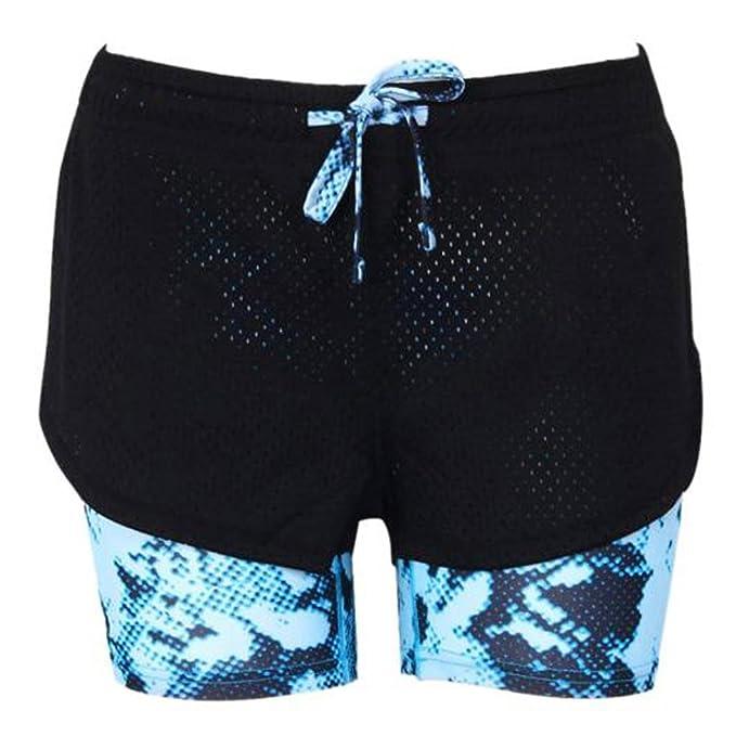 HARRYSTORE mujer calzoncillos deportivos y elásticos con forro Pantalones cortos de yoga mujer Polainas Legging