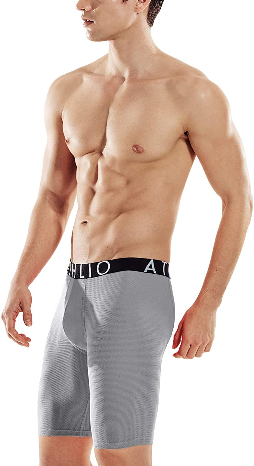 ATHLIO Men's (Pack of 3) Relaxed Stretch Open-Fly Cool Dry Brief Mesh Underwear Trunk: Clothing