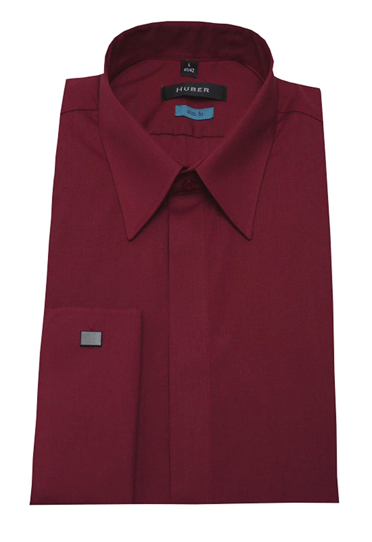 HUBER Umschlag Manschetten Hemd rot weinrot 0364 Slim Fit/Tailliert Größe S bis XXL
