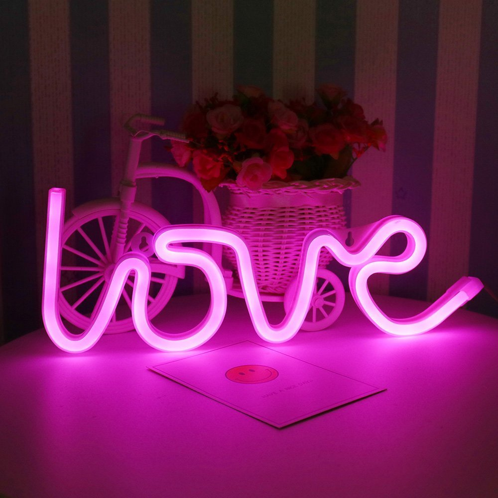 DELICORE Decorative LED Love Shaped Neon Night Light With Pink Lamp-Neon Night Light Operated By Battery/USB for Children's room Party Christmas Wedding Decoration Pink