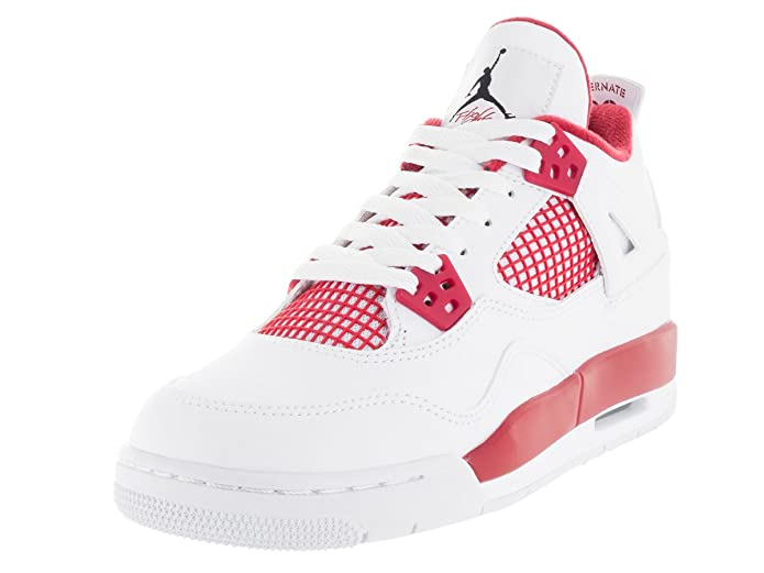 sports shoes e2cbf 465ba Amazon.com   Nike Jordan Kids Air Jordan 4 Retro Bg White Black Gym Red Basketball  Shoe 7 Kids US   Fashion Sneakers