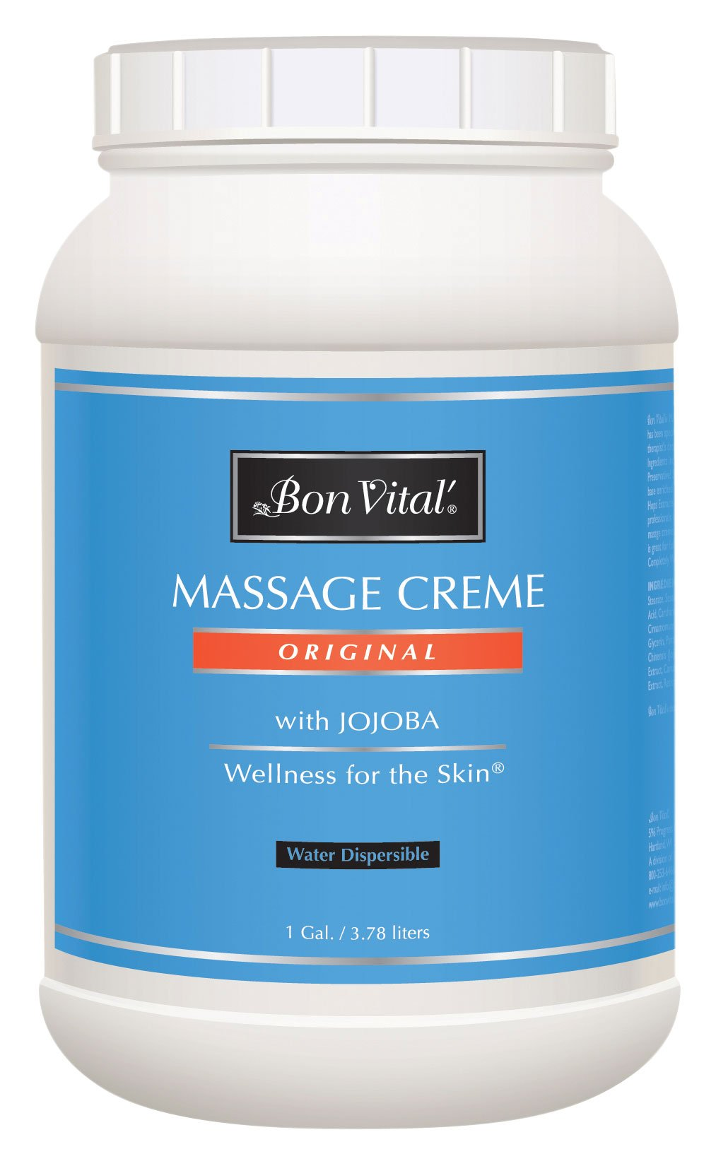 Bon Vital' Original Massage Crème for a Versatile Massage Foundation to Relax Sore Muscles & Repair Dry Skin, Revitalize Skin and Lock in Moisture, Allows for Muscle Manipulation, 1 Gallon Jar by Bon Vital