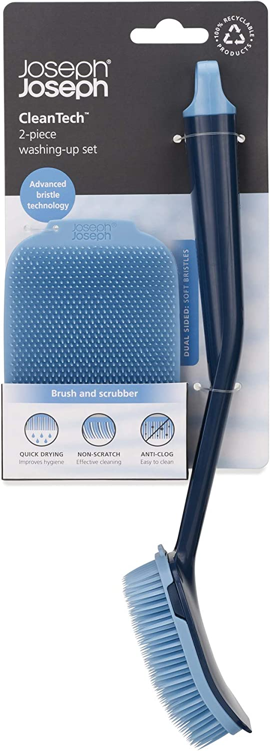 Cleantech Washing-Up Brush /& Scrubber Set Blue