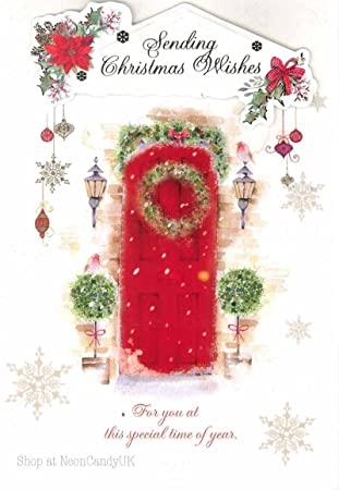 Merry Christmas Wishes Open Cute Greeting Card Words Quality Cards
