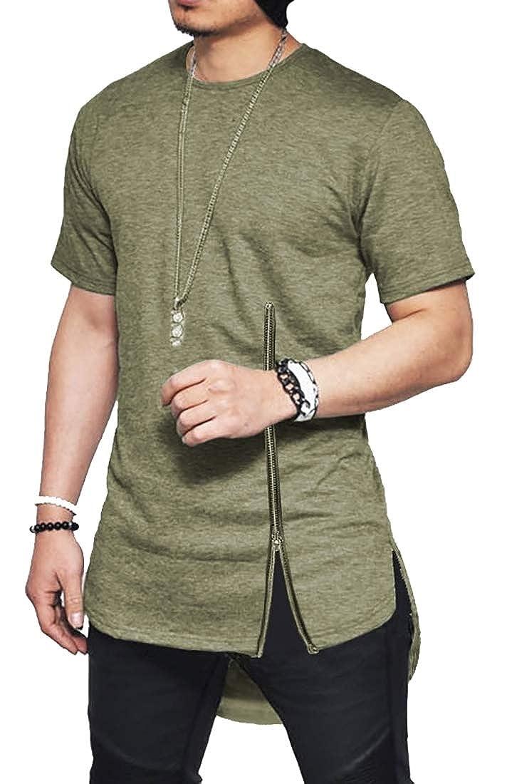 YY-qianqian Mens Elong Hip-Hop Short Sleeve Hipster Curved Hem Zip T-Shirt