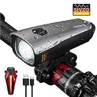 Antimi LED Fahrradlicht Set,StVZO Zugelassen USB Wiederaufladbar Fahrradbeleuchtung Set mit IPX4 Wasserdicht Frontlicht & Rücklichter, Samsung 2600mAh Li-ion Akku