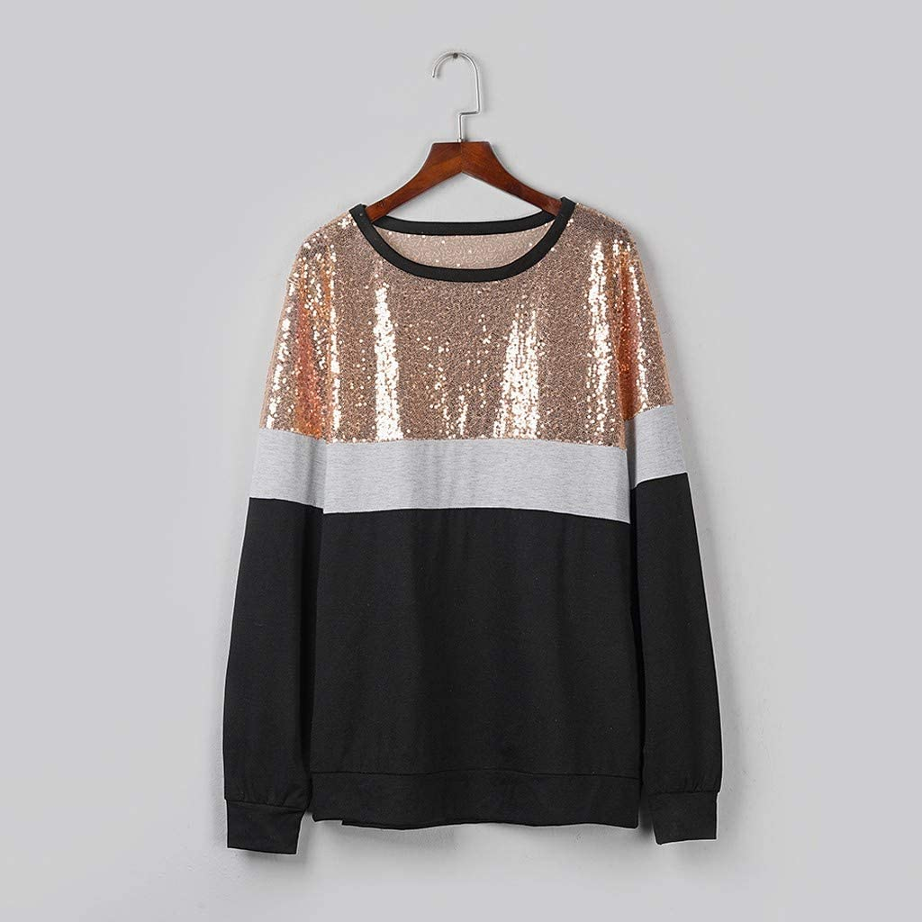 Eoeth T-Shirts for Women Casual Long Sleeve Sequins Pullover Fashion Color Block Splicing O-Neck Tops Blouse Shirts Tee
