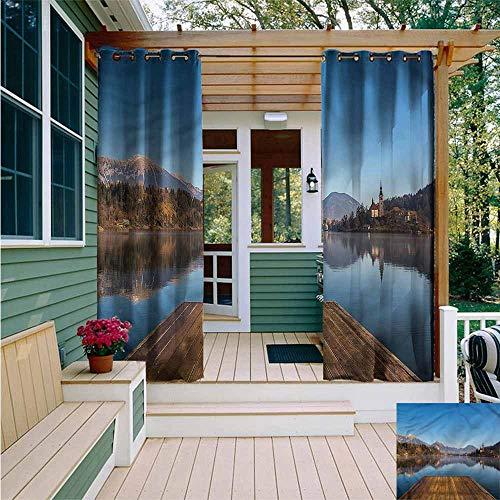 Beihai1Sun Curtains for Bedroom,Landscape Old Deck River Mountains,Waterproof Patio Door Panel,W108x96L