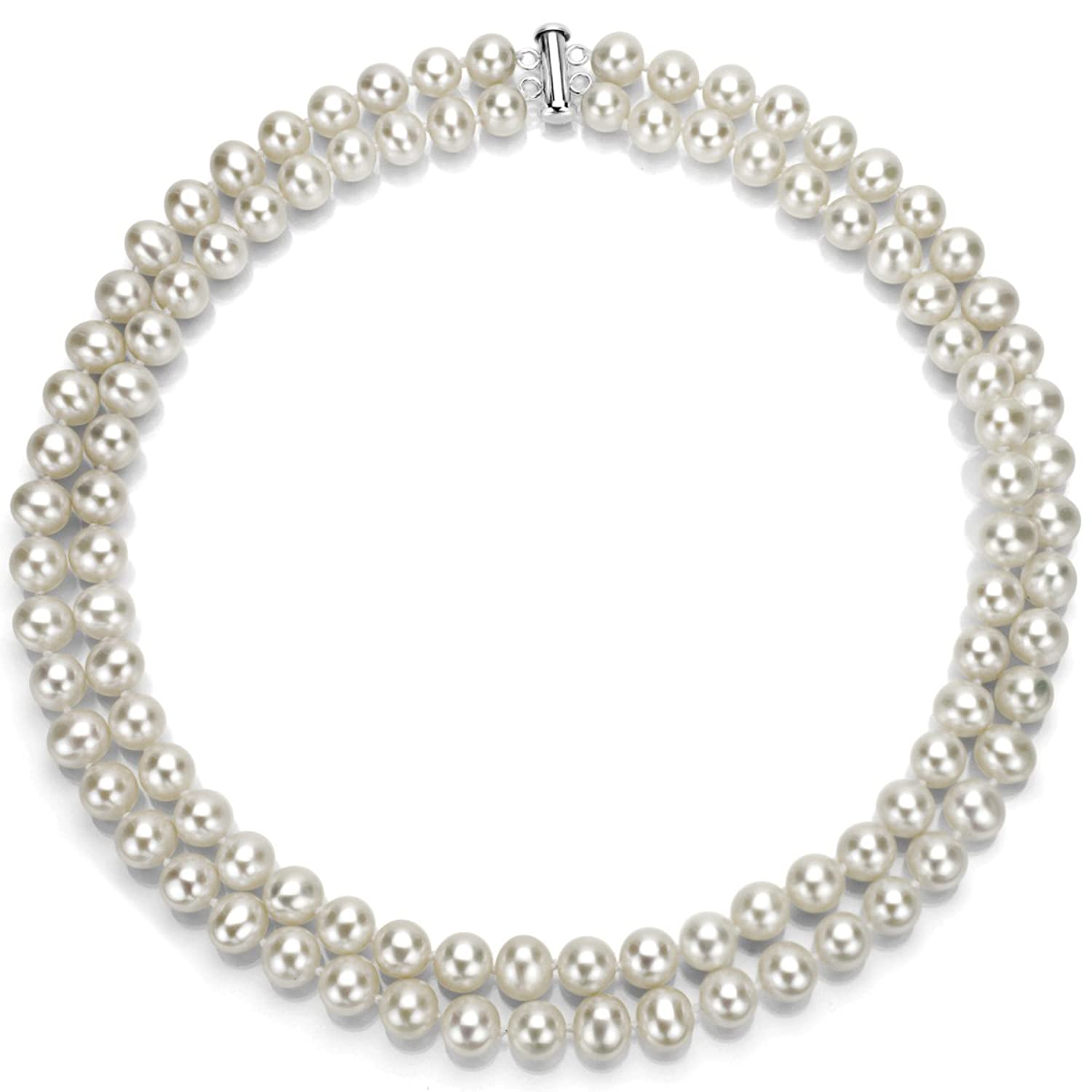 Sterling Silver 2-rows White Freshwater Cultured High Luster Pearl Necklace, 17""