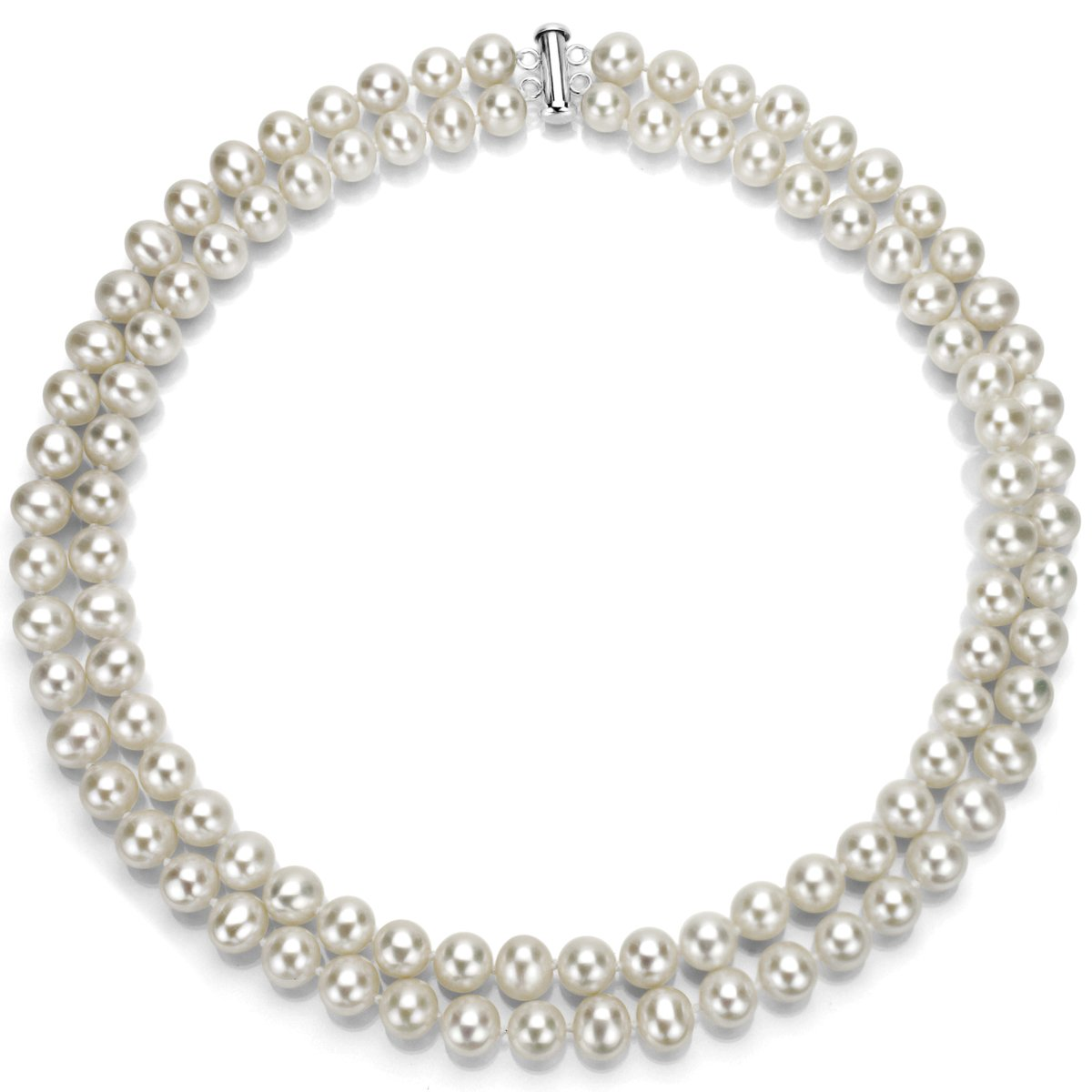 Sterling Silver 2-rows 6.5-7mm White Freshwater Cultured High Luster Pearl Necklace, 17''