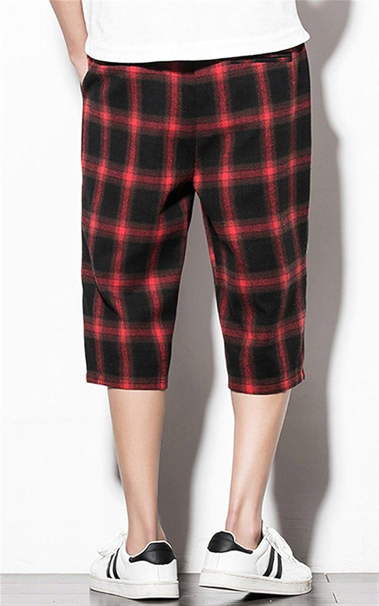 QZH.DUAO Mens 3//4 Plaid Pants