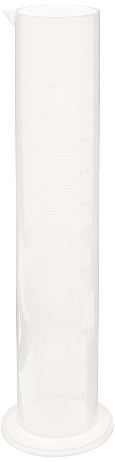 Pack of 2 United Scientific CP2000 Polypropylene Round Base Measuring Graduated Cylinders 2000ml Capacity