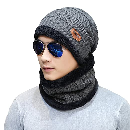 Naisidier Men s Winter Beanie Hat Scarf Set Warm Knitted Skull Cap ... b8ac6a612a5