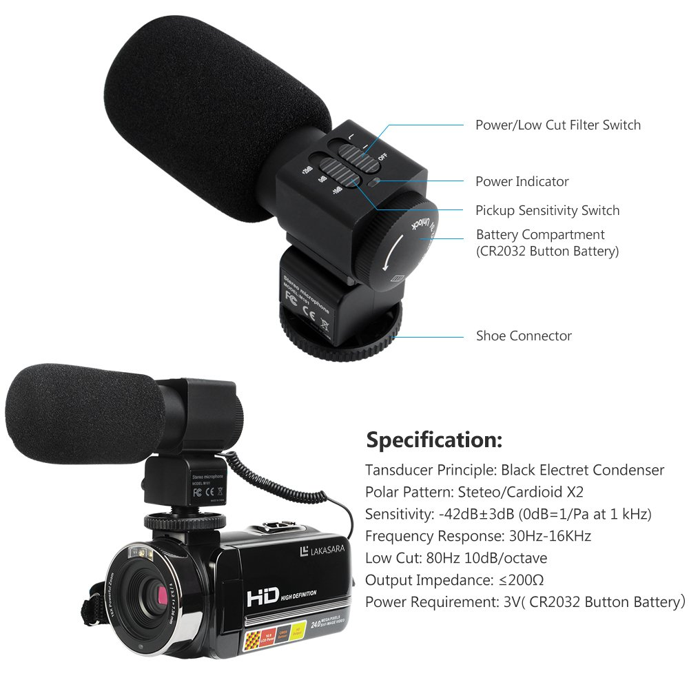 Camera Camcorders, LAKASARA Full HD 1080P 24MP IR Night Vision Video Camera Recorder with 16X Digital Zoom 3 Inch LCD Touchscreen and External Microphone Video Camcorder by LAKASARA (Image #2)