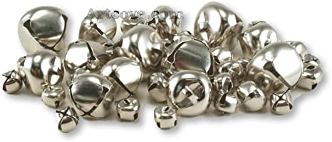Silver Small Jingle Bells Assorted Sizes 3//8 3//4 and 1 inch 43 Pieces 1//2