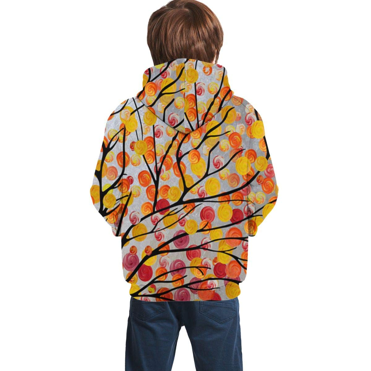 Youth 3D Print Abstract Art Oil Painting Tree Hooded Sweatshirt Kids