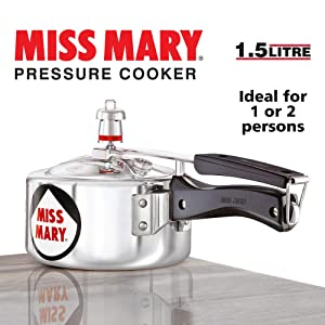 Hawkins Miss Mary Aluminium Pressure Cooker Silver 1.5 Litre