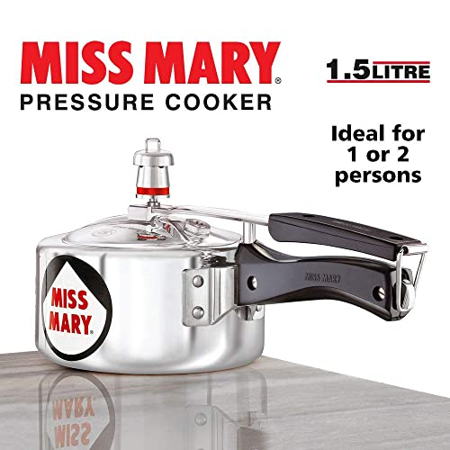 6. Hawkins Miss Mary Aluminum Pressure Cooker, 1.5 litres, Silver