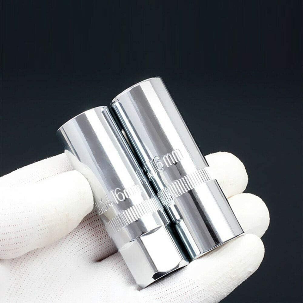 Juego de llaves de vaso para buj/ías 14 a 21 mm, 6 puntos, 2 unidades BE-TOOL plateado