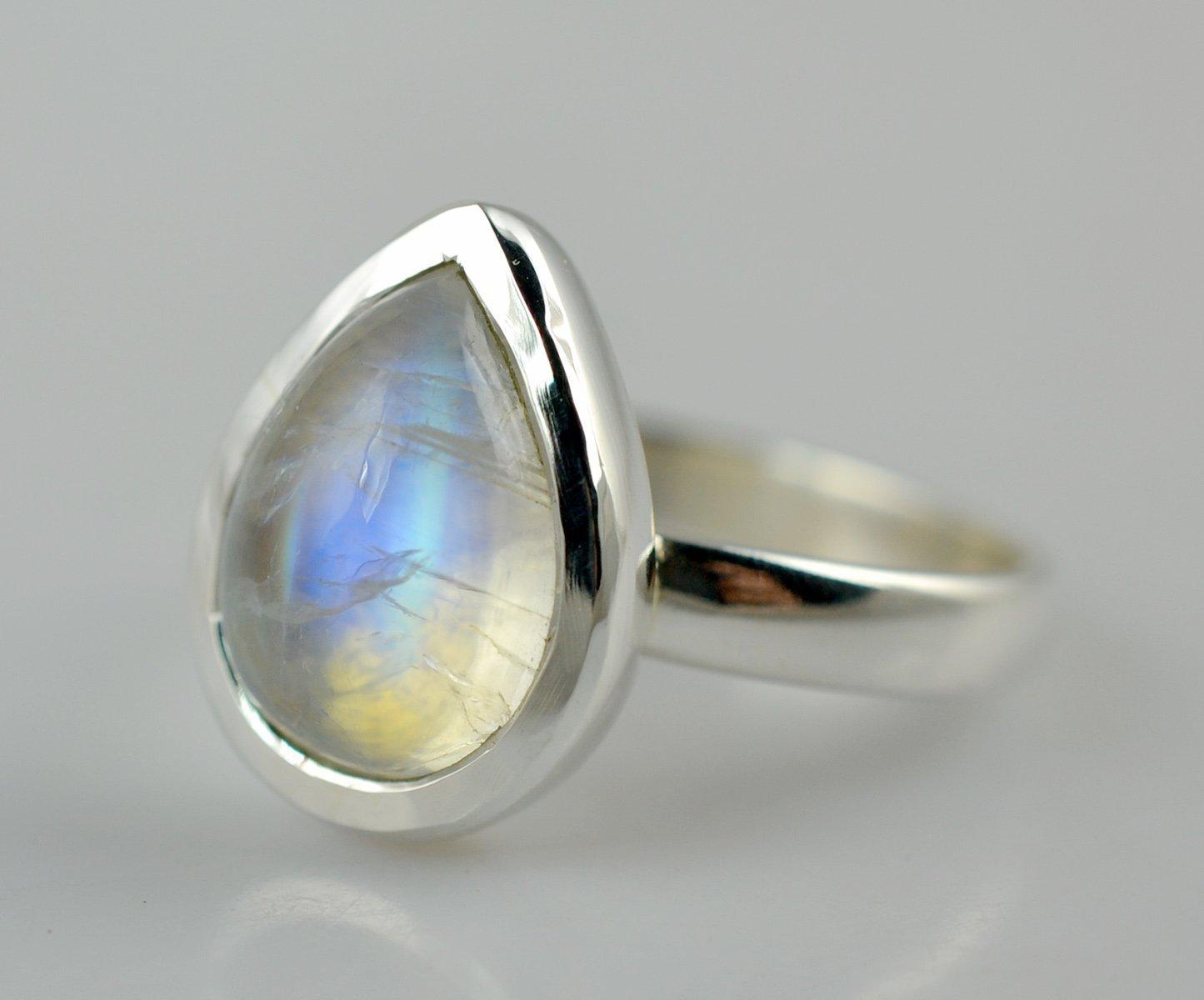 natural stone rainbow Moonstone ring silver ring Moonstone Ring 92.5 Sterling silver jewellery