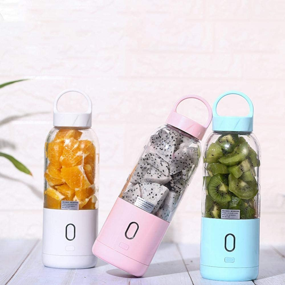 500ml Mini Exprimidor de Frutas Eléctrico Portátil USB Recargable Batidora Licuadora Batidora de Frutas Batidora Rosa Pink