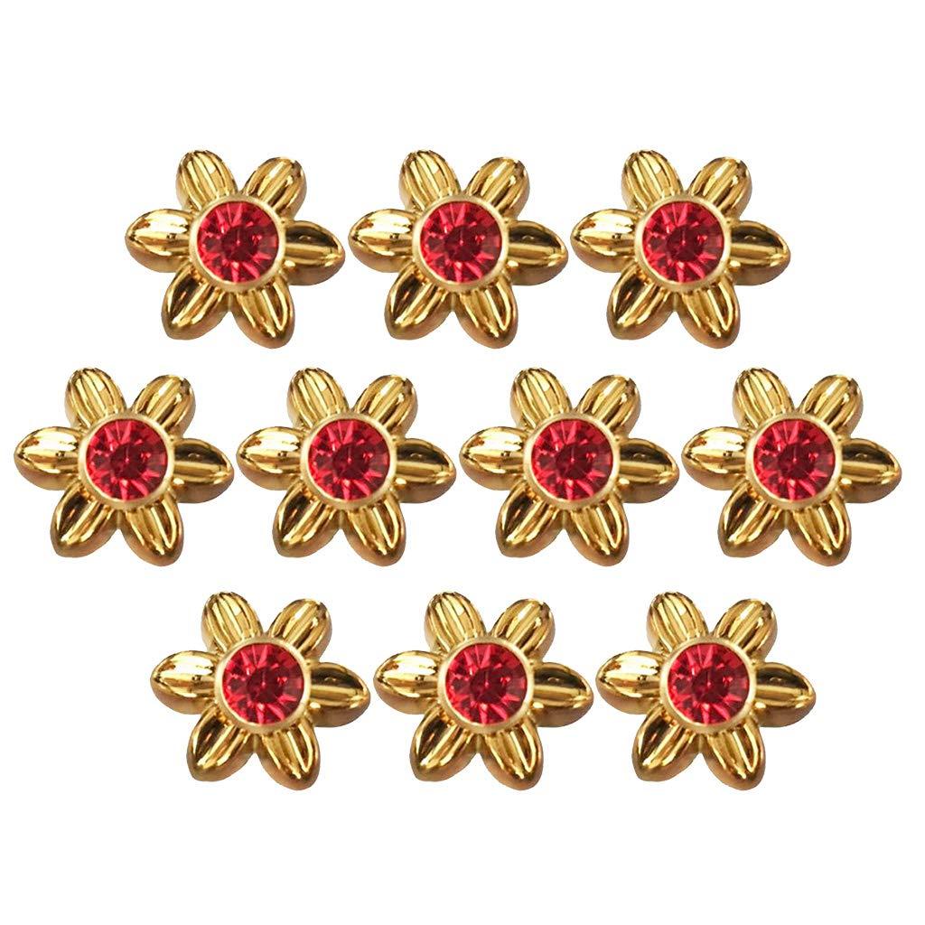 10 Pcs Blume Strass Nieten Ziernieten Schmucknieten Hohlnieten DIY Rundnieten set Gold