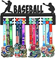 GENOVESE Baseball Medal Holder Display Hanger Rack,Black Sturdy Steel Metal,Wall Mounted Over 50 Medals Easy t