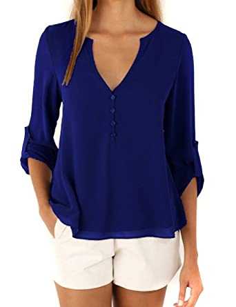 11522e04ada60a Minetom Damen Elegant Damen Blusen Sommer Casual V-Ausschnitt Langarm Lose  Chiffon Blusen T-Shirt Tops T-Shirt  Amazon.de  Bekleidung