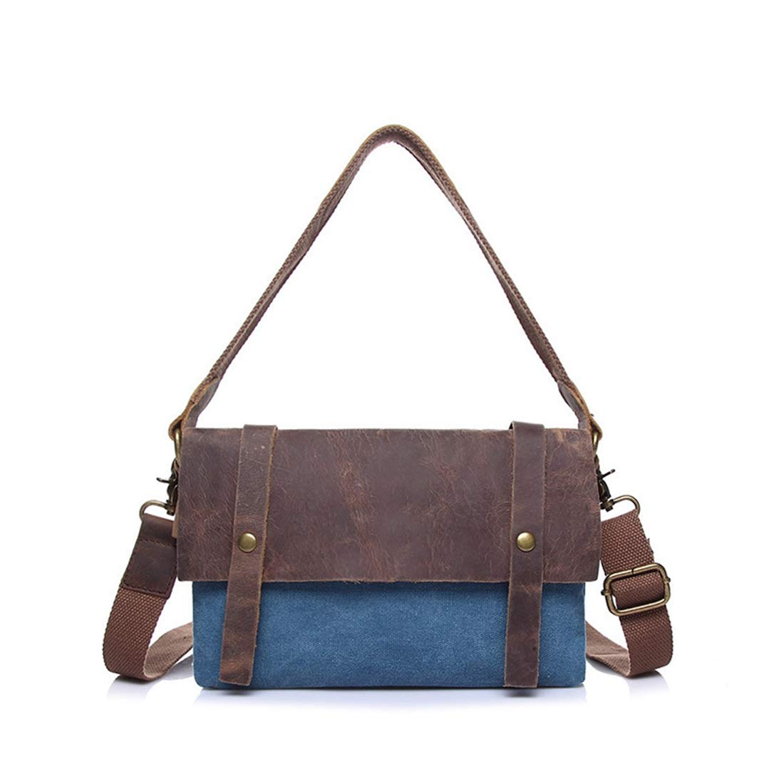 AIYAMAYA Simple Retro Zip Canvas Shoulder Bag Messenger Bag Color:blue