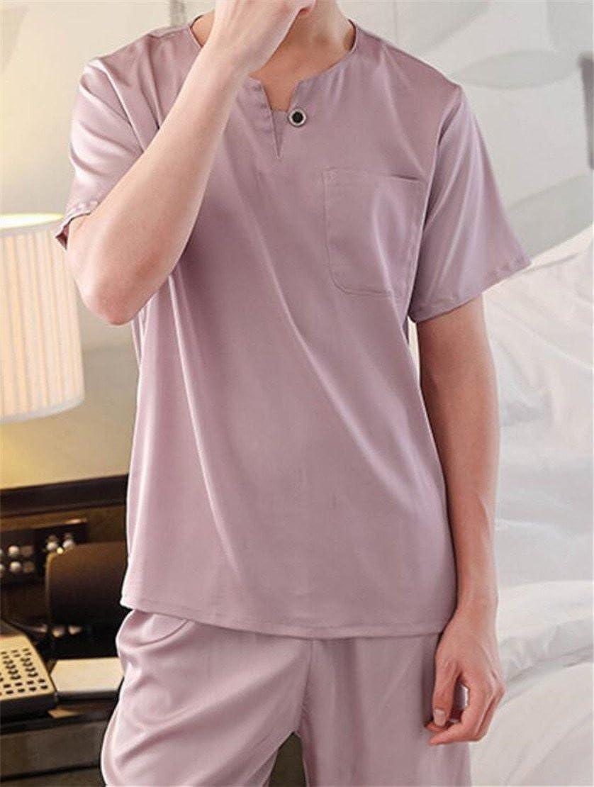 Gnao Mens Short Sleeve Two Pieces Sleepwear Silk Nightwear Pajama Sets