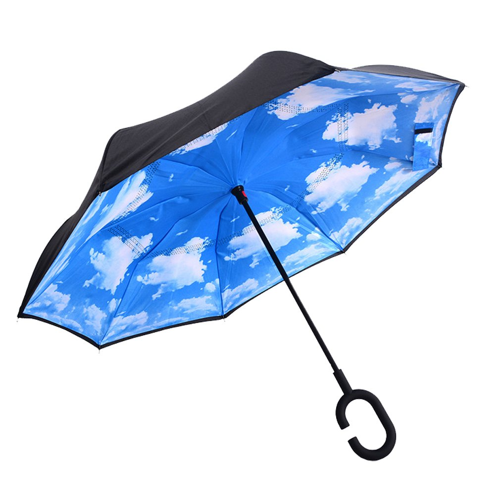 DOLIROX® Windproof Reverse Folding Double Layer Inverted Umbrella and Self Standing Inside Out Rain Protection Umbrella