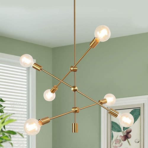 KSANA Gold Chandelier, Modern Sputnik 6 Light Fixture with Adjustable Arms for Dining Living Room, Bedroom, Kitchen Island and Foyer
