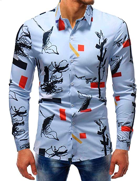 Qiusa Camisas de Hombre 5XL para Hombre Top de Manga Larga Casual, Slim Fit 3D Personalizado Patrón Cuff Azul Diseño gótico Polo Blusa XXL XXXL XXX (Color, tamaño : Medium): Amazon.es: Hogar