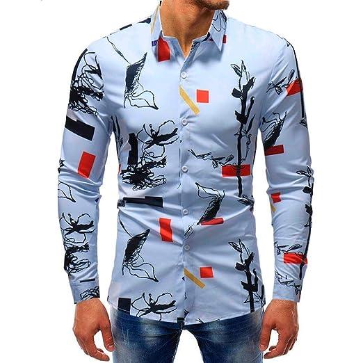 Qiusa Camisas de Hombre 5XL para Hombre Top de Manga Larga Casual ...