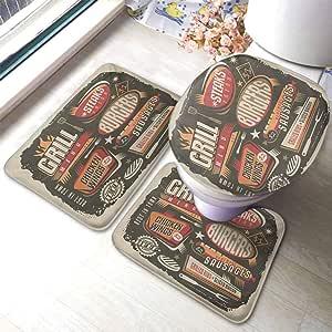Amazon.com: BBQ Party Bathroom Rug Set Grill Menu Design ...