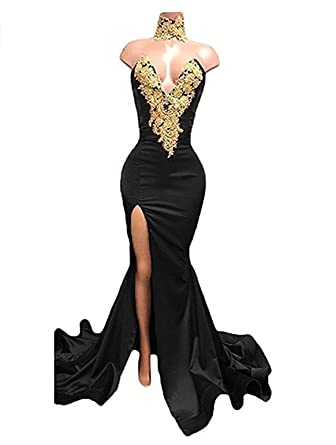 Allenqueen Womens Sexy Split Mermaid Evening Dresses V Neck Gold Appliques Prom Dresses Black US2