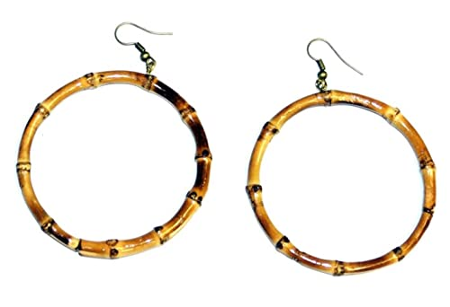 """8aa5b9ced Bamboo Wood Large 3"""" Diameter Hoop Earrings- 2 Color Choices (Natural  ..."""
