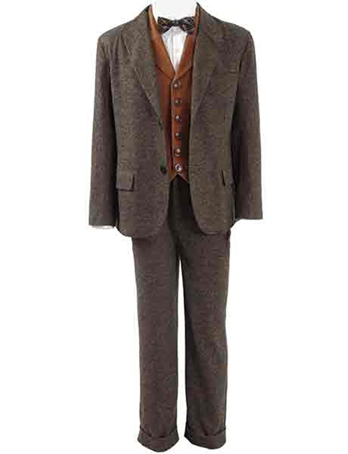 1920s Men's Costumes: Gatsby, Gangster, Peaky Blinders, Mobster, Mafia Fantastic Beasts Newt Scamander 3 Piece Brown Suit $140.00 AT vintagedancer.com