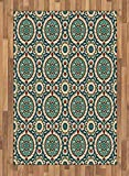 Arabian Area Rug by Ambesonne, Graphic Design of Classic Ancient Eastern Patterns Asian Retro Nostalgic Colors, Flat Woven Accent Rug for Living Room Bedroom Dining Room, 4 x 6 FT, Multicolor