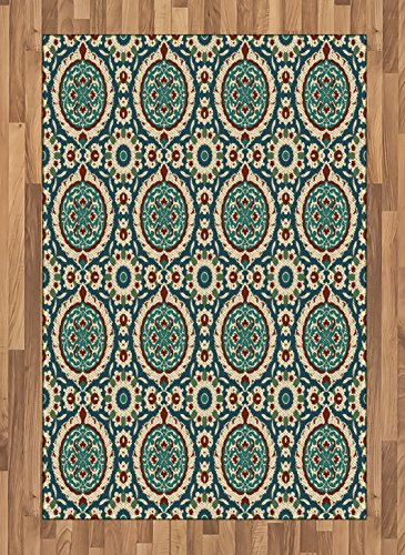 Arabian Area Rug by Ambesonne, Graphic Design of Classic Ancient Eastern Patterns Asian Retro Nostalgic Colors, Flat Woven Accent Rug for Living Room Bedroom Dining Room, 4 x 6 FT, Multicolor by Ambesonne
