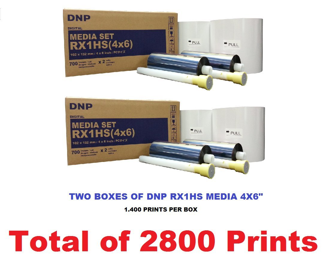 TWO BOXES OF RX1HS 4X6'' MEDIA, PAPER AND RIBBON KIT FOR DNP DS-RX1HS PRINTER (TOTAL OF 2800 PRINTS). Comes with FREE SAMPLES of our best selling photo folders (Eventprinters brand).