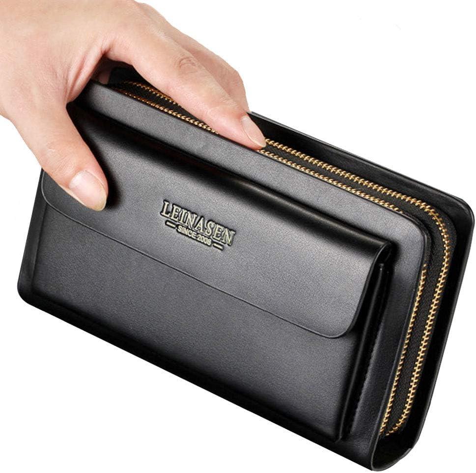 Mens Large Long Leather Clutch Hand Bag Wallet Purse Travel Passport Business Cell Phone Holster Credit Card Holder Case for Dad Husband (Black)