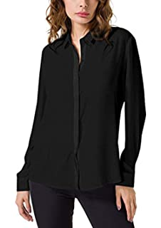8ad96f53363 Double Plus Open DPO Women s Chiffon Casual Button Up Shirt Long Sleeve  Loose Cuffed Blouse
