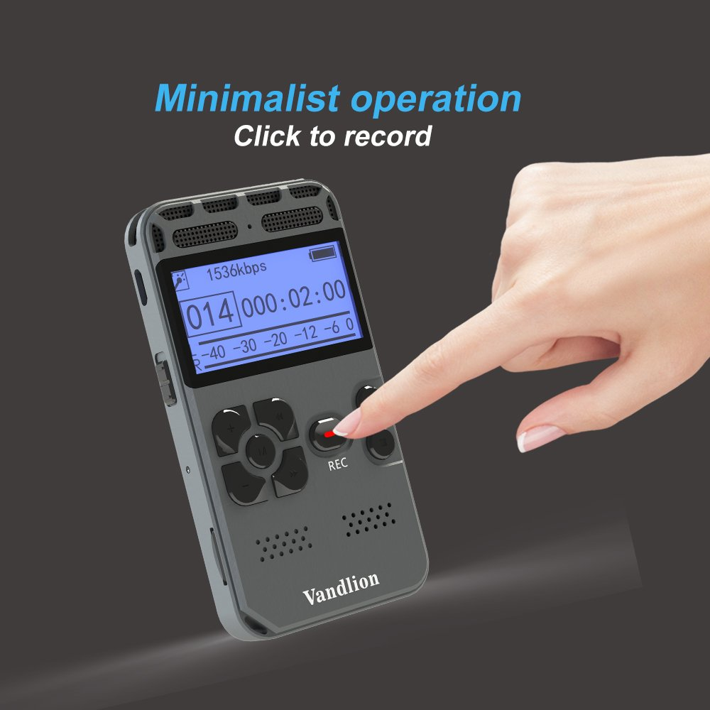 Digital Voice Recorder,Vandlion 8GB Sound Audio Recorder Dictaphone for Lectures Meetings, AGC Noise Reduction, Voice Activated PCM and MP3 Player,Double Microphone