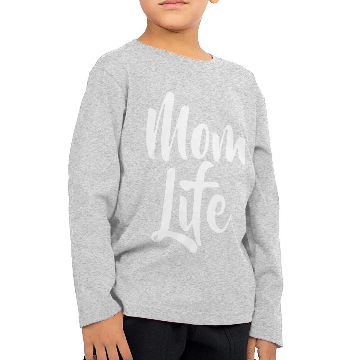 WCHUNMU Mom Life Childrens Cotton Gray Long Sleeve Round Neck Boys Or Girls T-Shirt
