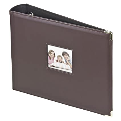 amazon com 3 ring photo binder album with sewn leatherette frame