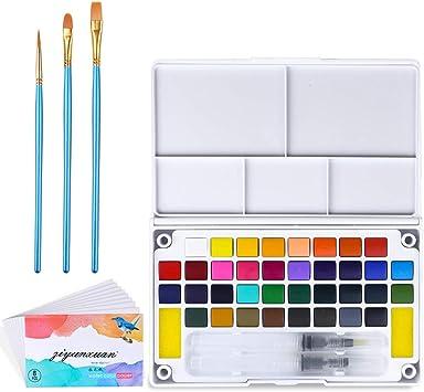 SUPERSUN Kit de Acuarelas para Niños, 36 Colores Pintura de Acuarelas Sólida y 3 Pinceles Acuarela y 8 Papel Acuarela y 1 Paleta Acuarela: Amazon.es: Juguetes y juegos